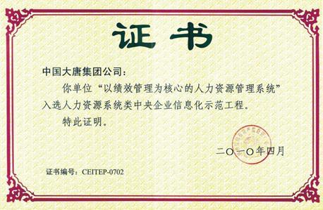 中国大唐集团公司,中央企业信息化示范工程